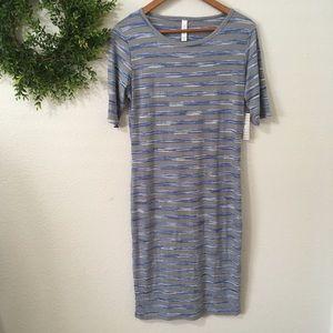 Lularoe Julia Blue/Gray Striped Dress